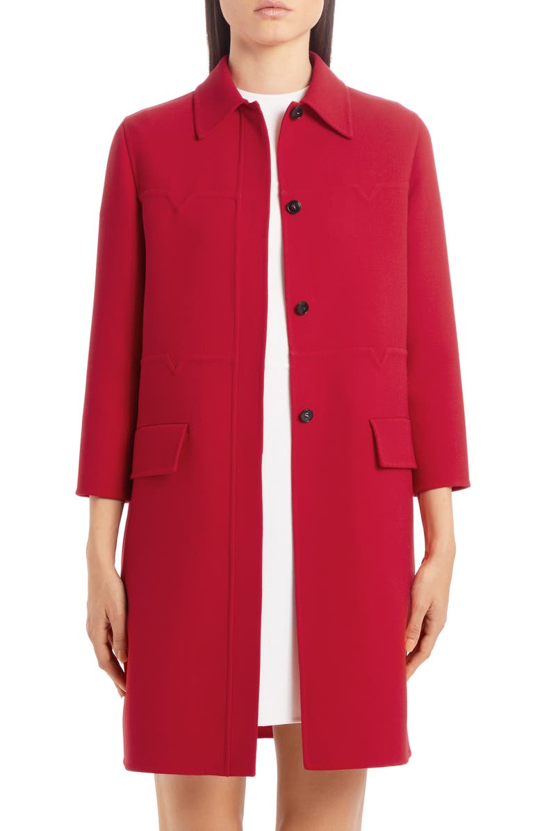 VALENTINO Logo Embossed Wool Topper, Main, color, ROSSO