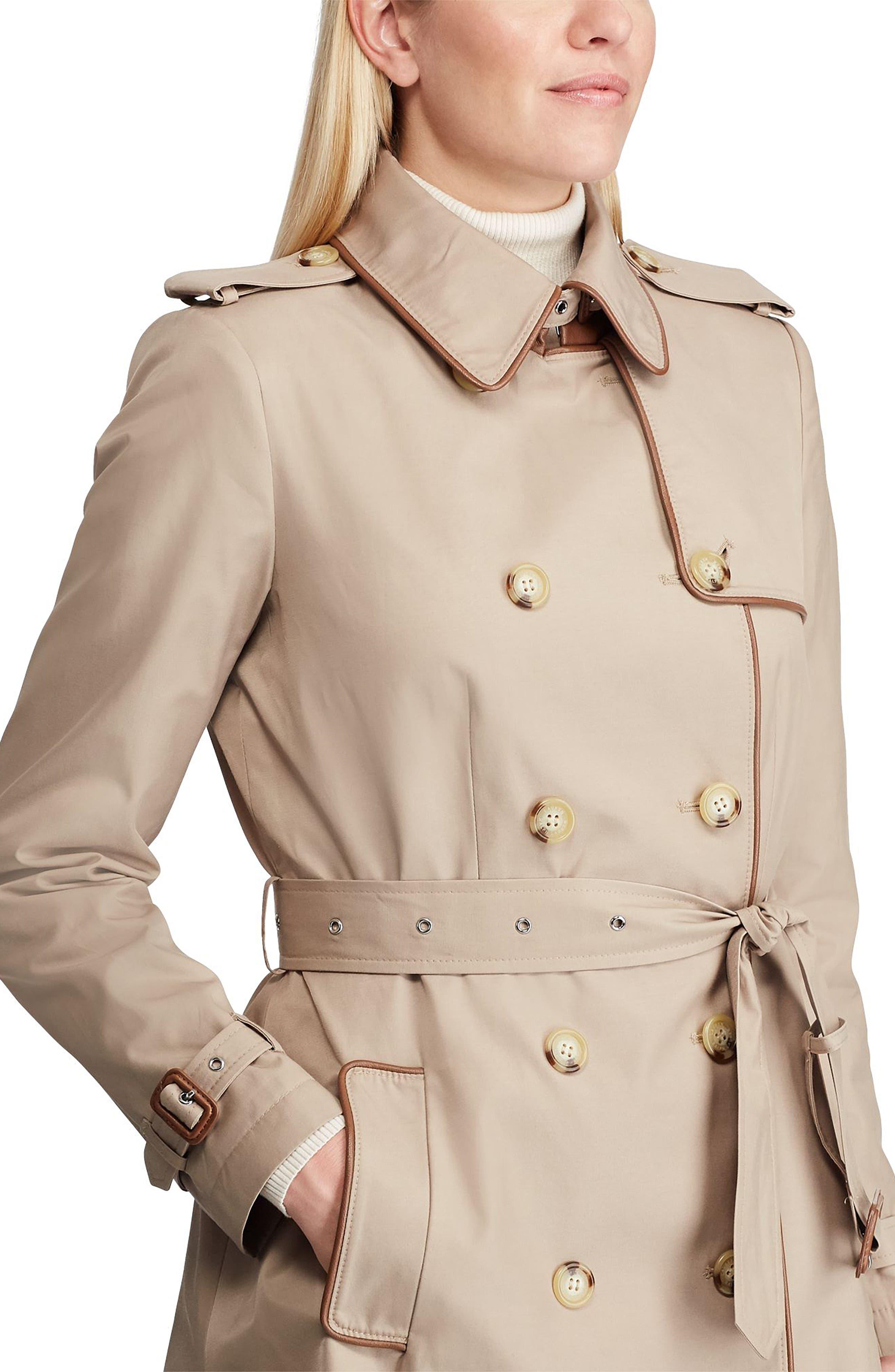 ,                             Faux Leather Trim Trench Coat,                             Alternate thumbnail 9, color,                             275