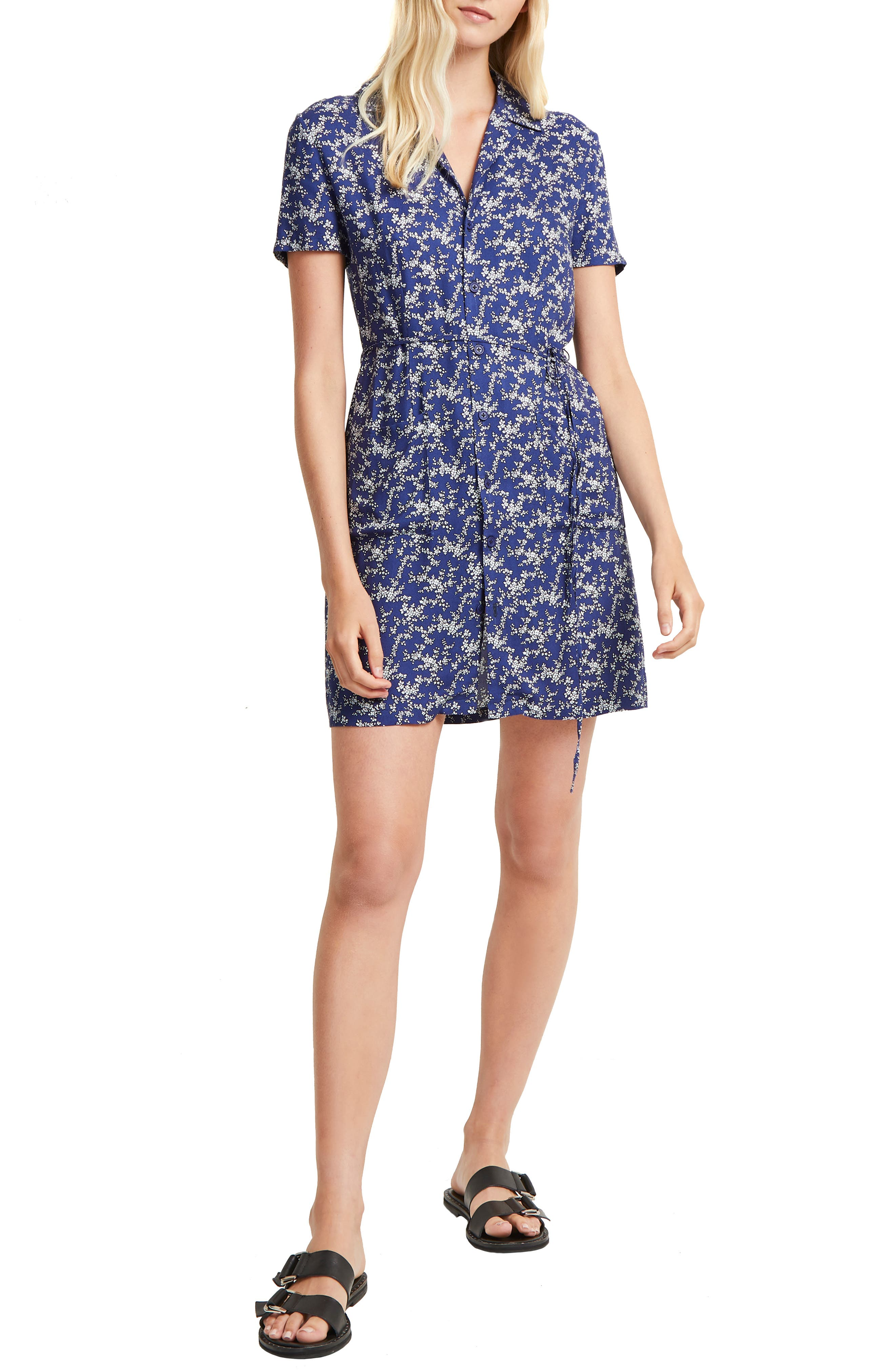 French Connection Cerisier Floral Shirtdress, Blue