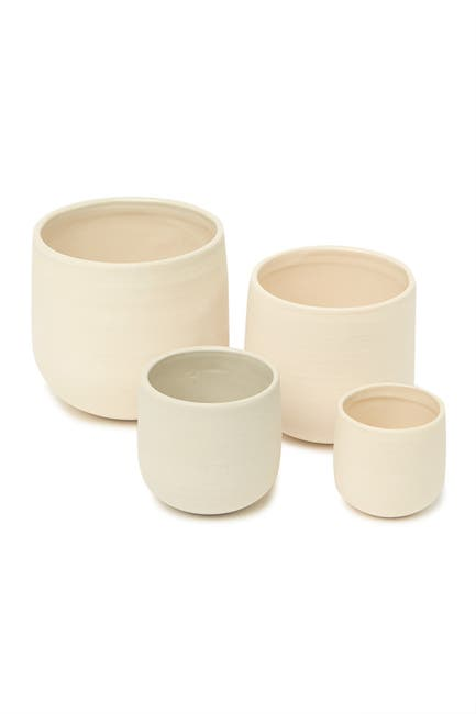 Image of ROOST Safi 4-Piece Tall Stoneware Bowl Set - Cream