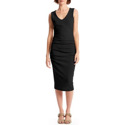 Michael Stars Cora Sleeveless Ruched Body-Con Dress, Black