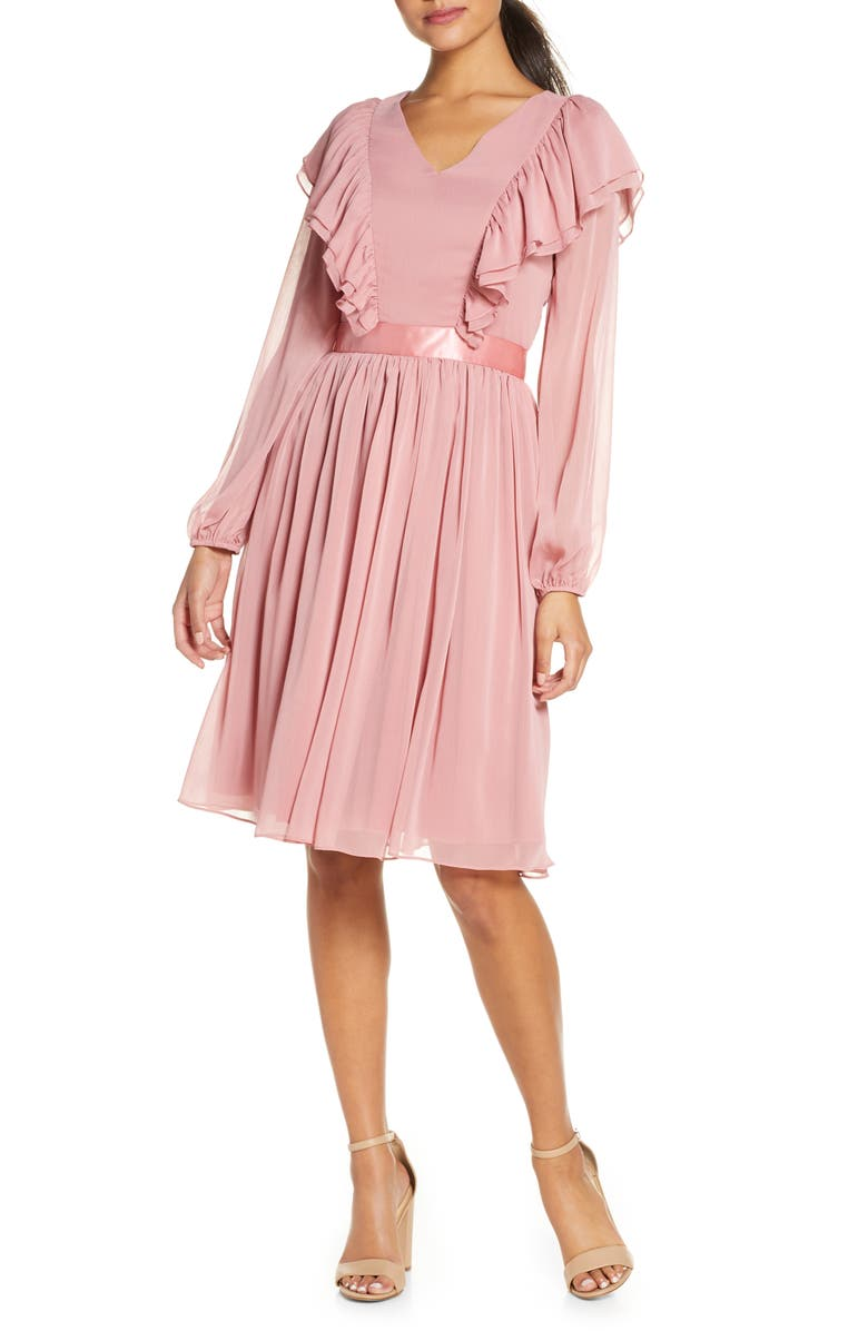 RACHEL PARCELL Long Sleeve Ruffle Twirl Dress, Main, color, PINK COMPACT