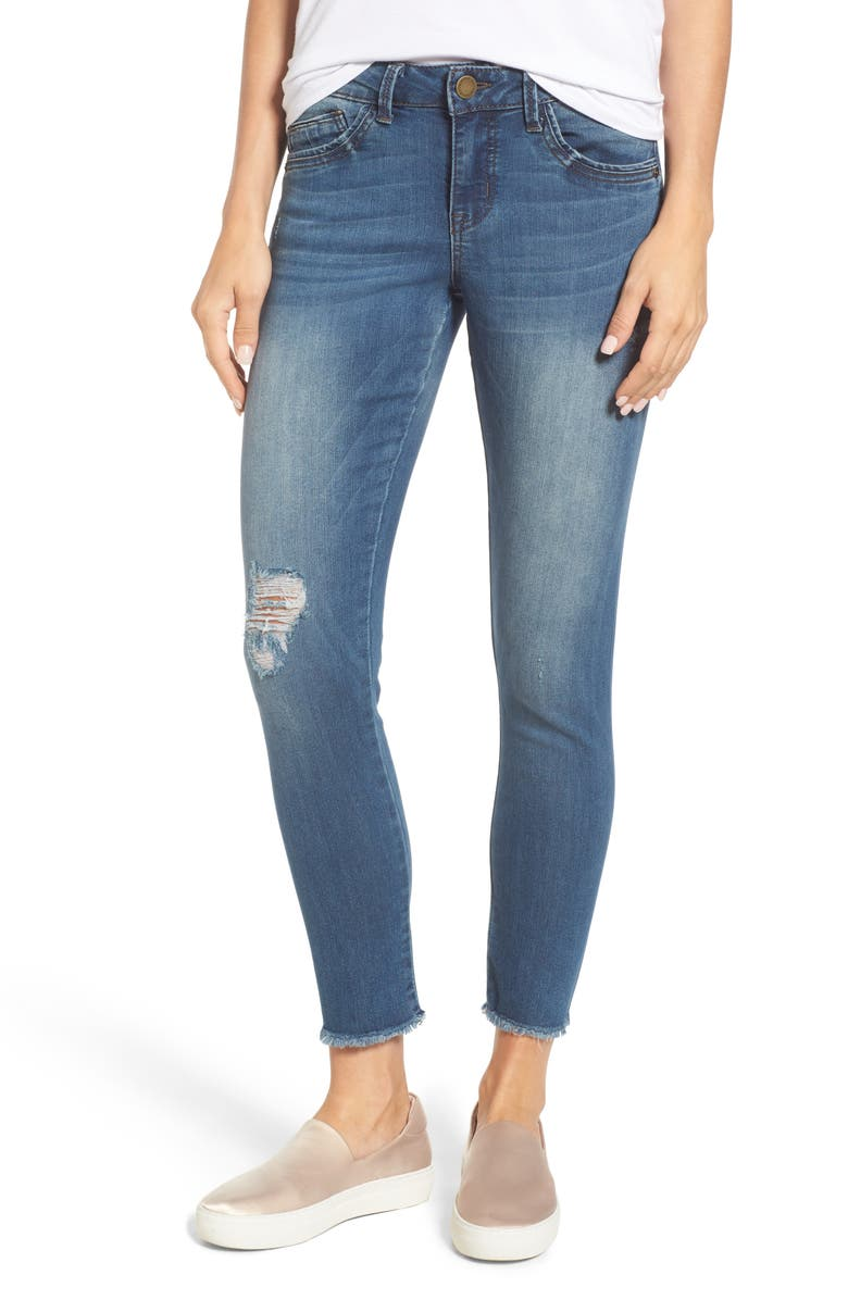 WIT & WISDOM Seamless Distressed Skinny Jeans, Main, color, 420