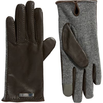 Lauren Pick Stitched Mixed Media Touchscreen Gloves, Brown