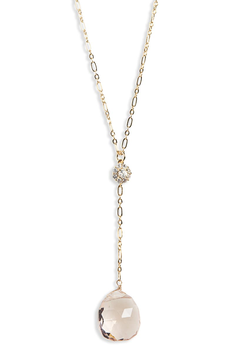 SEREFINA Sultry Glassy Y-Necklace, Main, color, ROSE