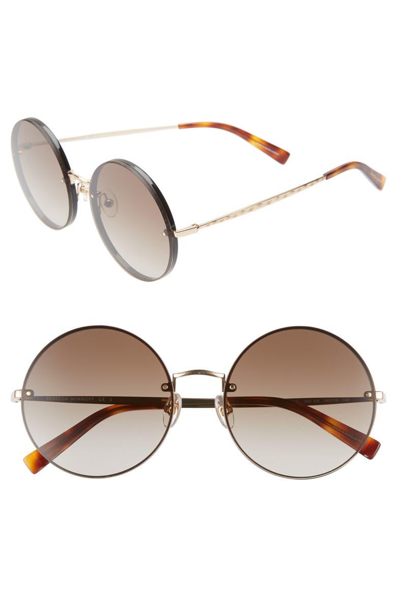 REBECCA MINKOFF Gloria1 56mm Round Sunglasses, Main, color, BLACK/ GOLD