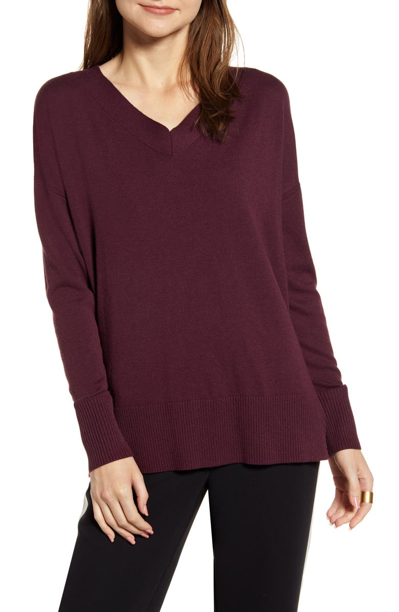 CHELSEA28 V-Neck Sweater, Main, color, BURGUNDY STEM