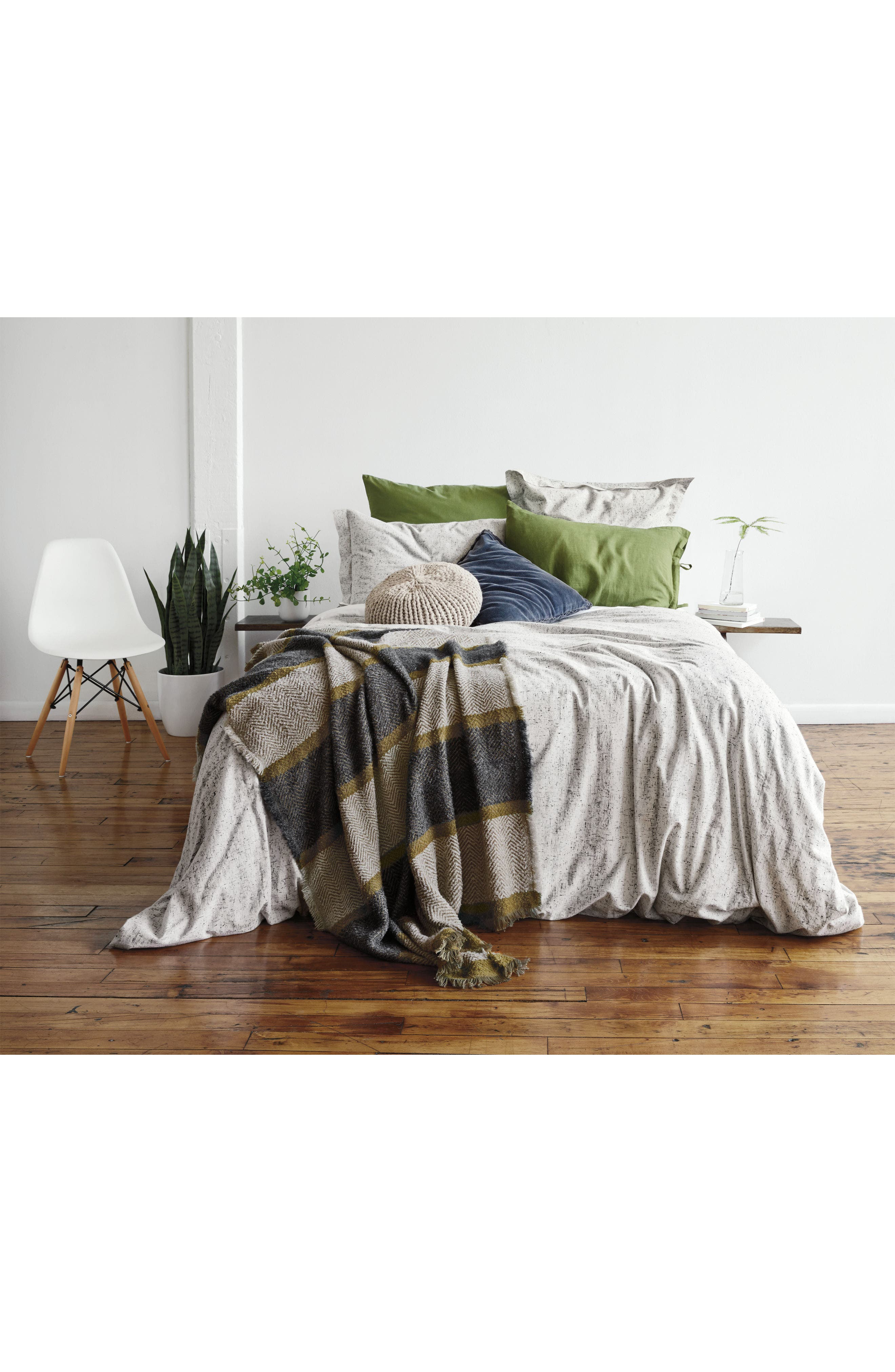 ,                             Relaxed Cotton & Linen Euro Sham,                             Alternate thumbnail 7, color,                             GREY ONYX