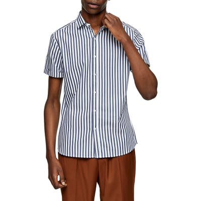 Topman Bengal Stripe Short Sleeve Button-Up Shirt, Blue