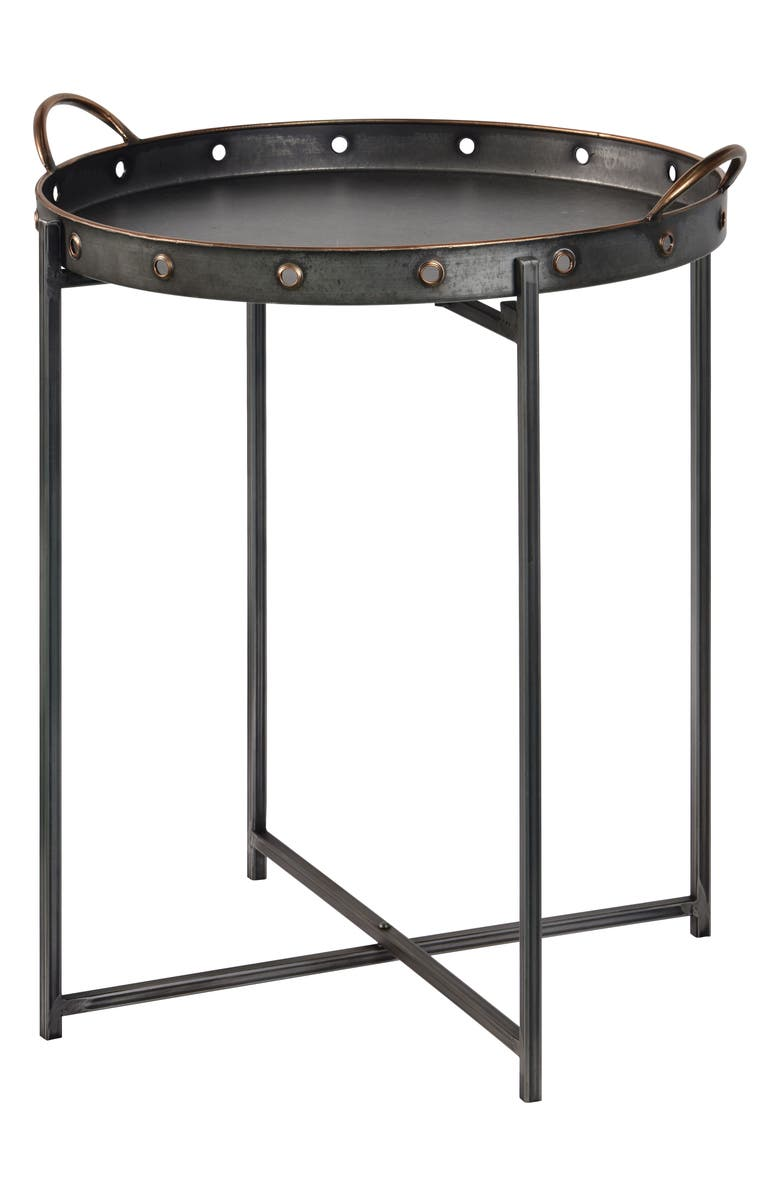 GEORGE AND CO Galvanized Side Table, Main, color, BLACK