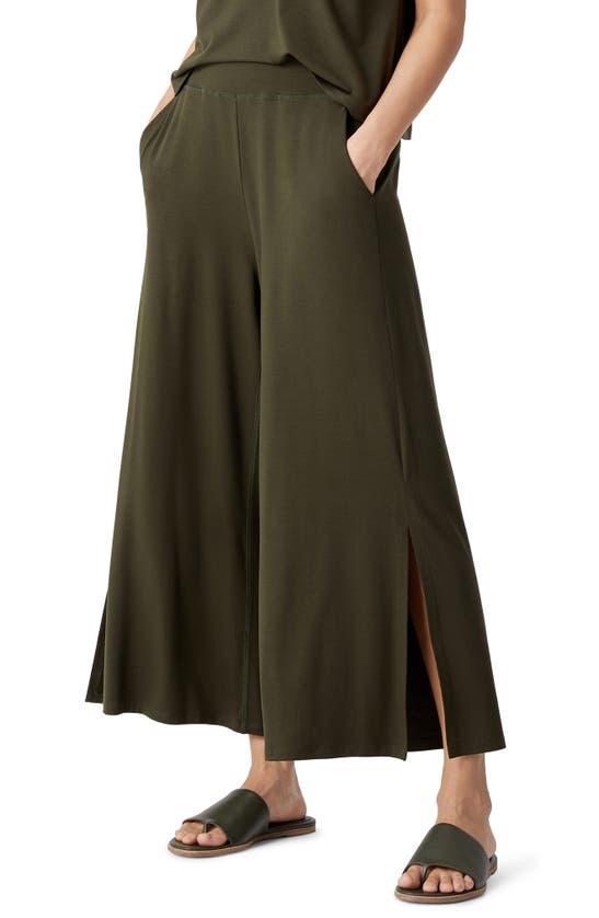Eileen Fisher SIDE SLIT CROP WIDE LEG PANTS