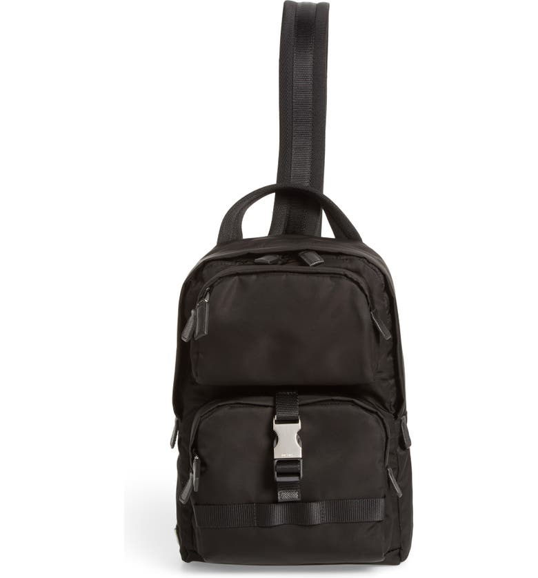 PRADA Tessuto Small Sling Bag, Main, color, BLACK