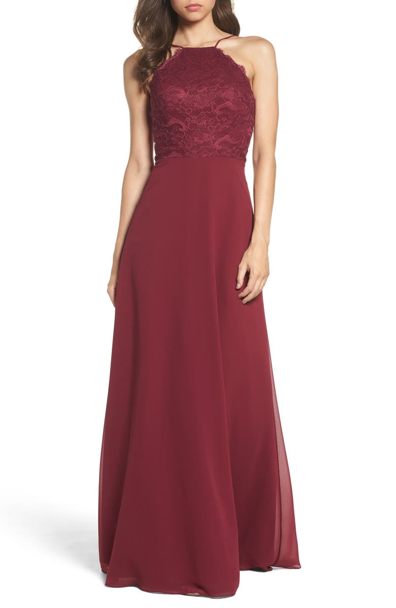 HAYLEY PAIGE OCCASIONS Lace Halter Gown, Main, color, 931
