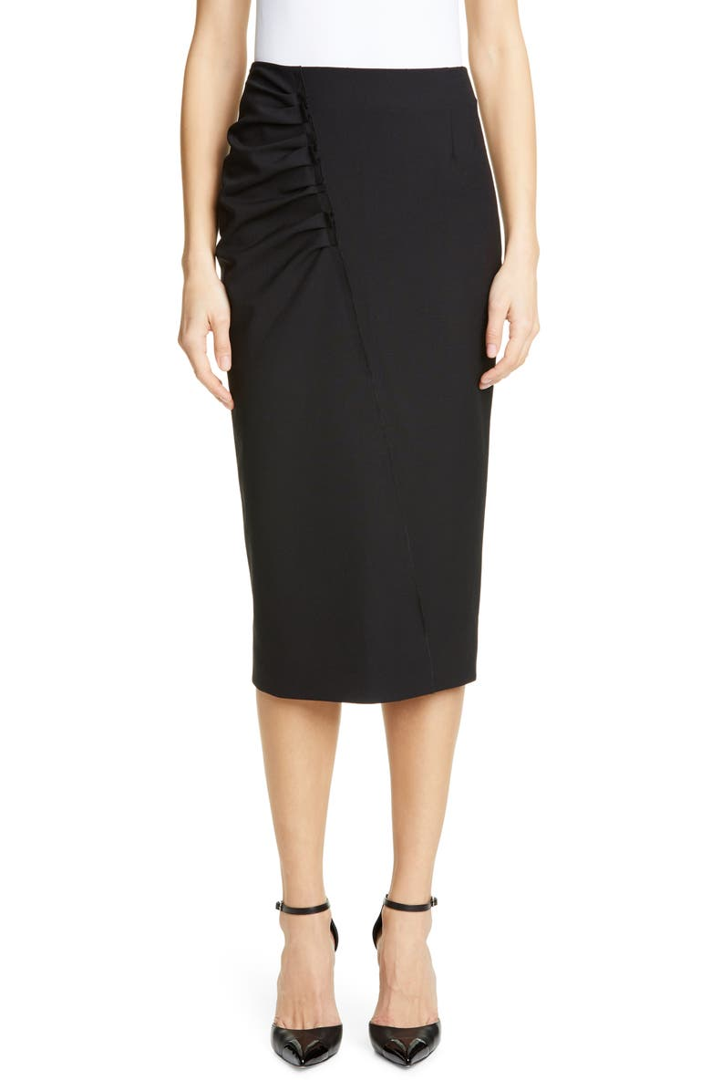 JASON WU COLLECTION Stretch Wool Suiting Skirt, Main, color, 001