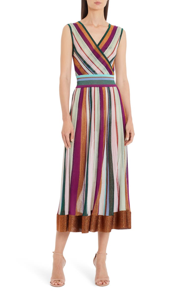 MISSONI Metallic Stripe Faux Wrap Midi Sweater Dress, Main, color, 440