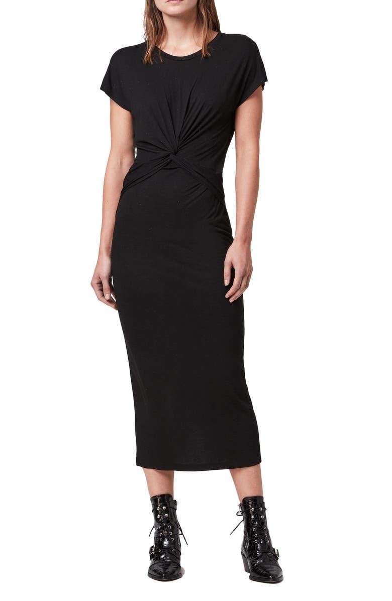 ALLSAINTS Paloma Shimmer Midi Dress, Main, color, BLACK