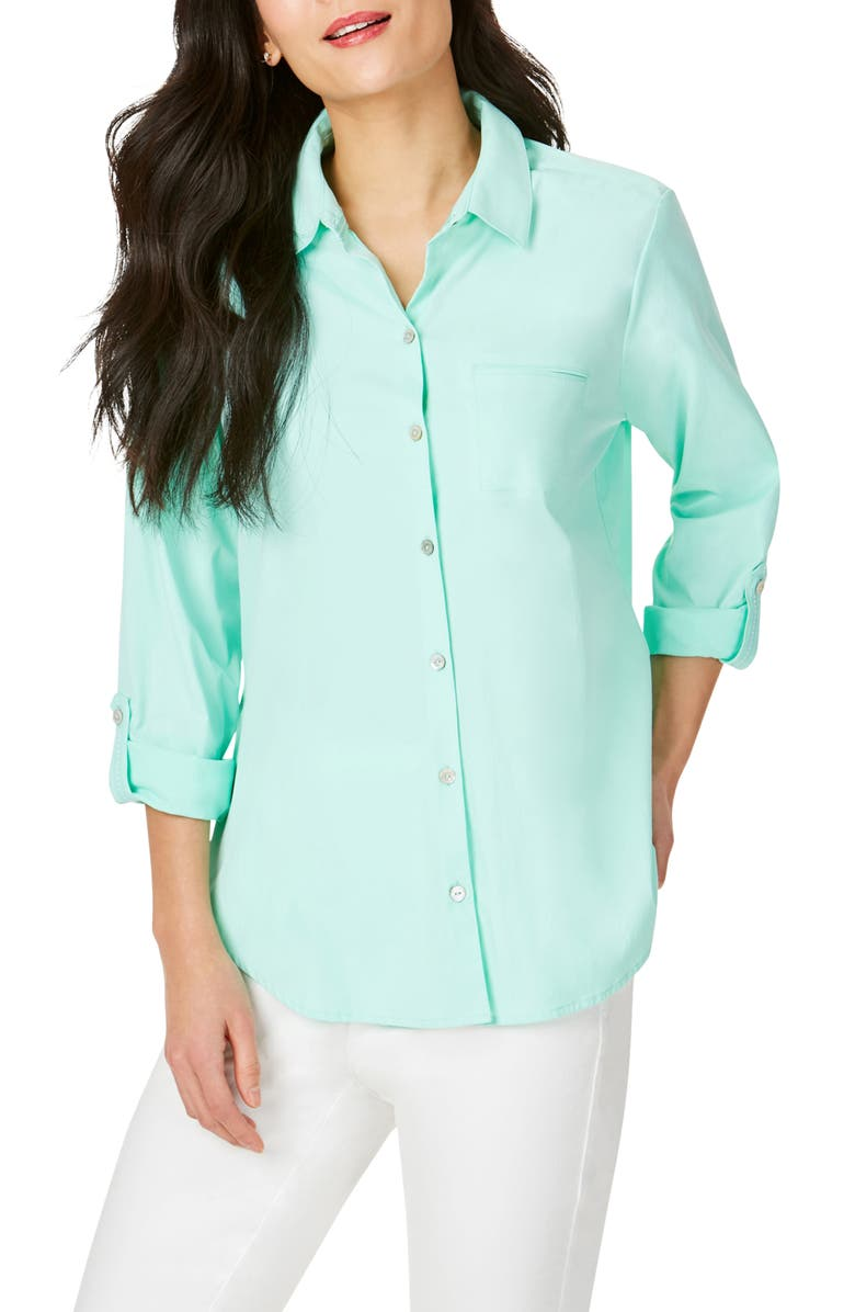 FOXCROFT Reese Solid UPF Wrinkle Free Shirt, Main, color, MOJITO
