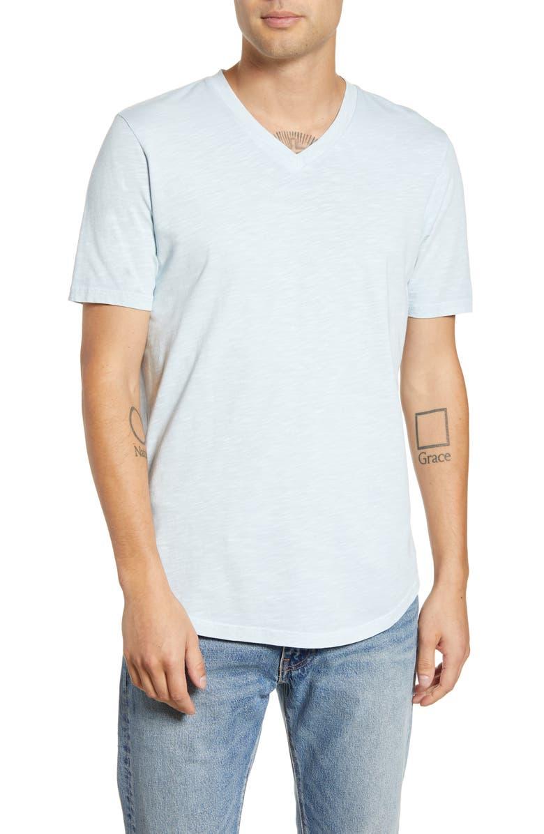 GOODLIFE Scallop Slim Fit V-Neck T-Shirt, Main, color, COOL BLUE