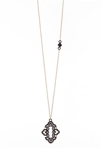 Image of ARMENTA Old World Blackened Sterling Silver & 18K Gold Open Scroll Diamond & Sapphire Pendant Necklace
