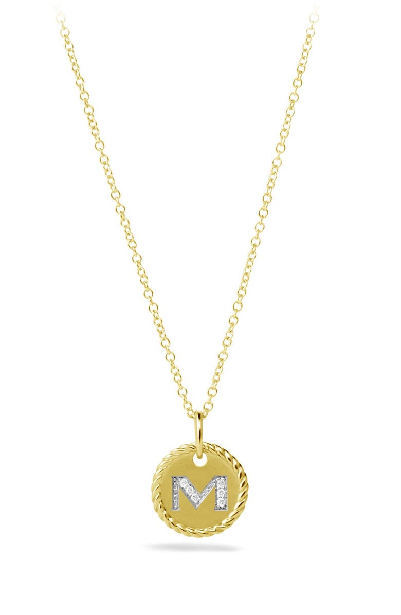 DAVID YURMAN Cable Collectibles Initial Pendant with Diamonds in Gold on Chain, Main, color, M