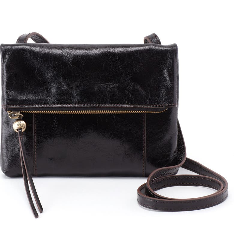 HOBO Sparrow Foldover Crossbody Bag, Main, color, BLACK