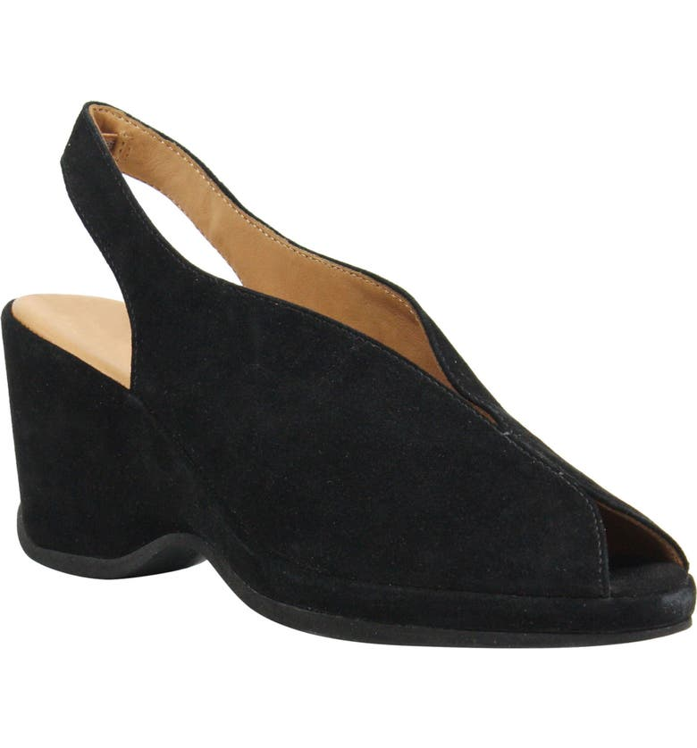 L'AMOUR DES PIEDS Odetta Slingback Wedge, Main, color, BLACK SUEDE