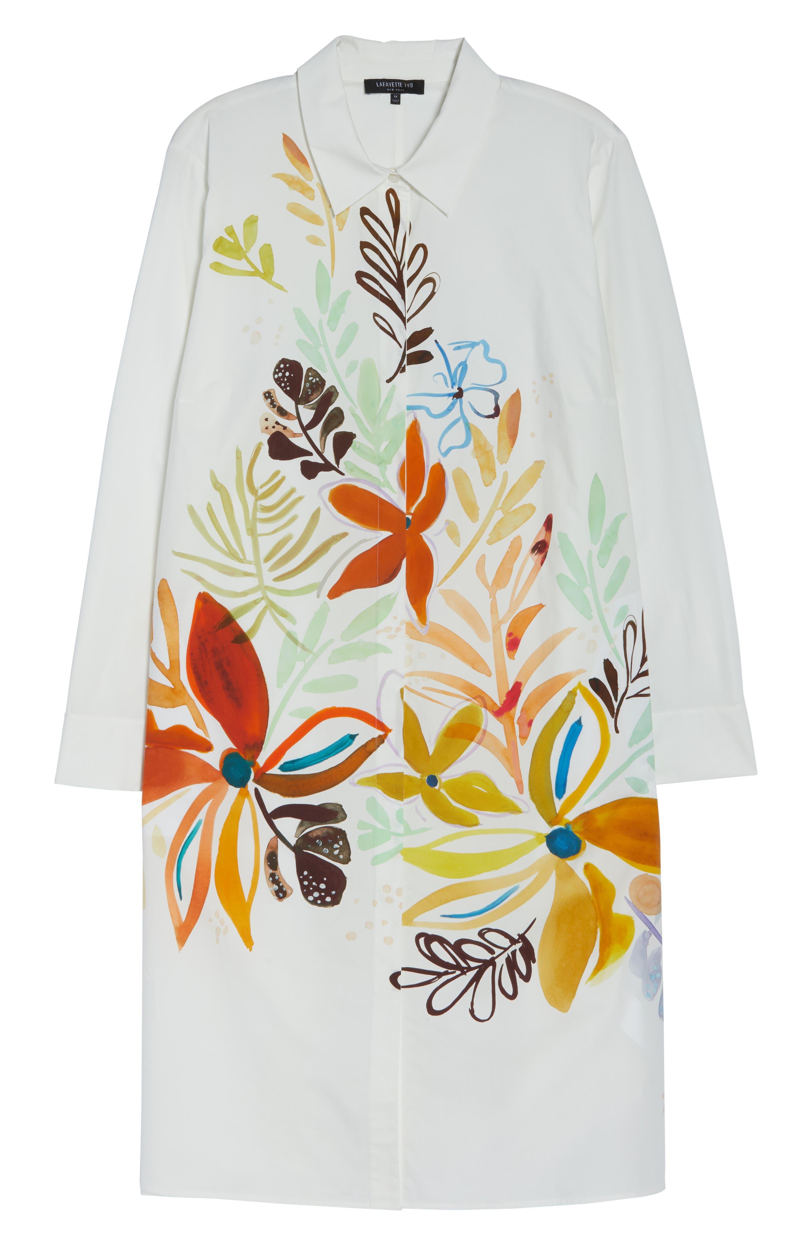 ,                             Porto A-Line Shirtdress,                             Alternate thumbnail 6, color,                             WHITE MULTI