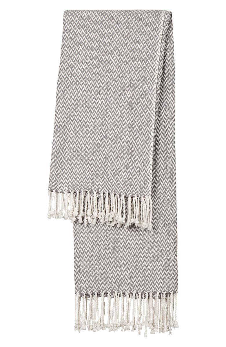 CATHY'S CONCEPTS Monogram Herringbone Throw Blanket, Main, color, GREY