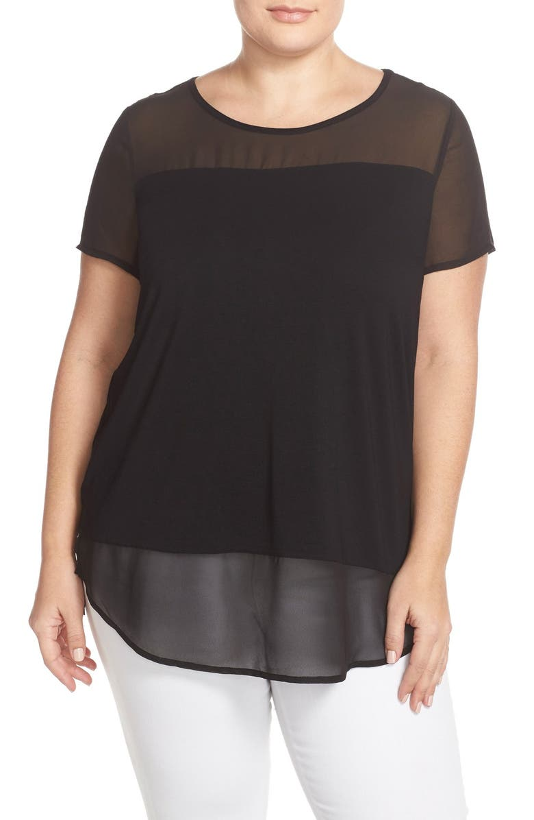 VINCE CAMUTO Chiffon Inset Knit Top, Main, color, RICH BLACK