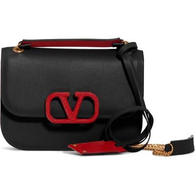 Valentino Garavani Small Vlock Chain Calfskin Shoulder Bag - Black