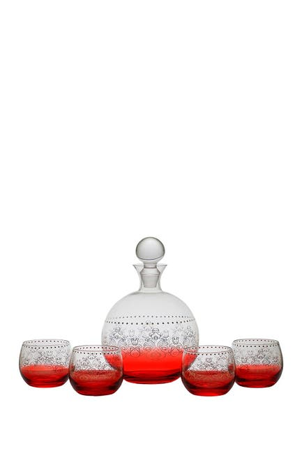Image of Jay Import Tracy Porter Red 5-Piece Decanter and Glass Set
