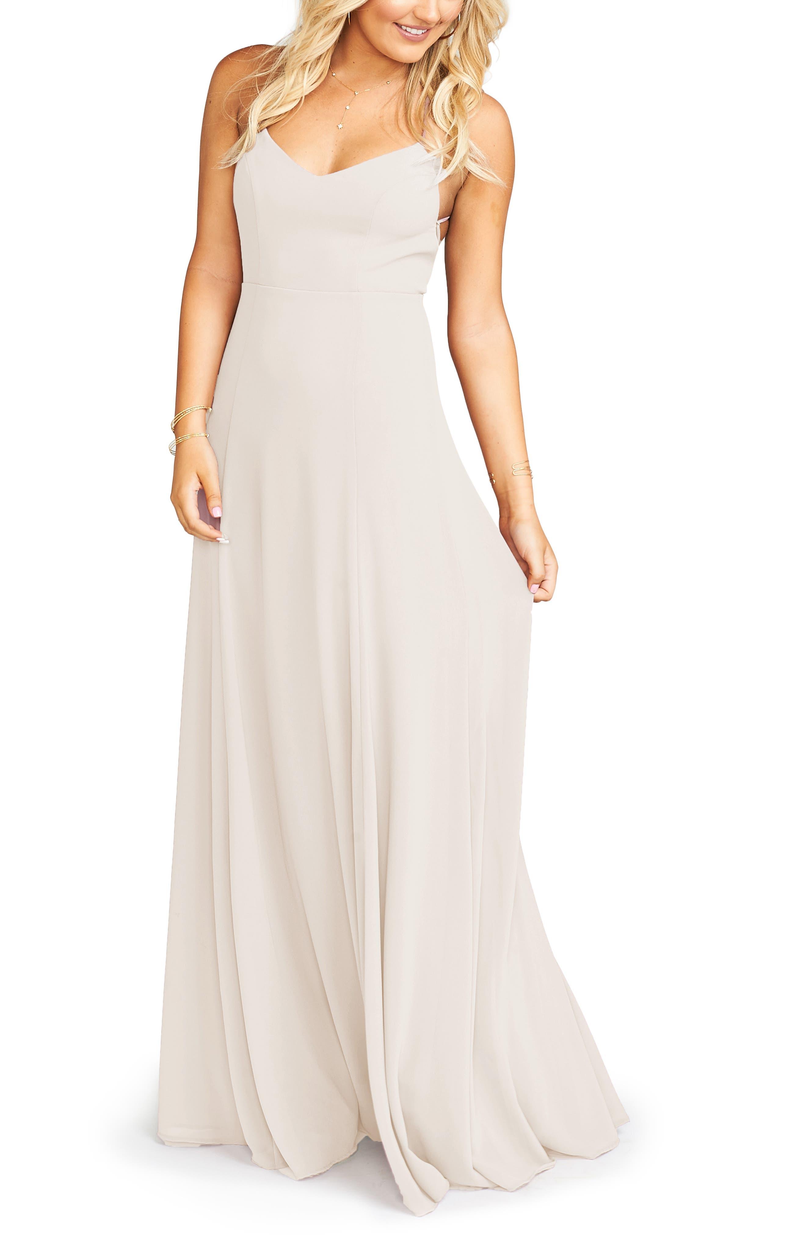 Show Me Your Mumu Godshaw Goddess Chiffon Gown, Beige