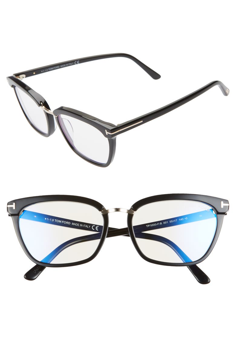 TOM FORD 55mm Blue Light Blocking Glasses, Main, color, SHINY BLACK