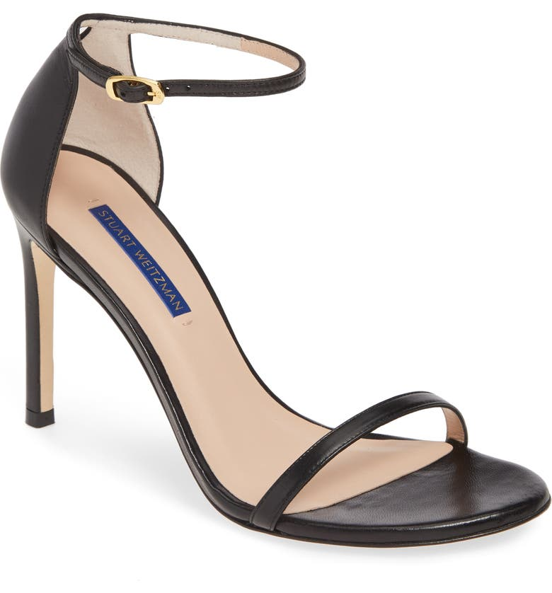 STUART WEITZMAN Nudistsong Ankle Strap Sandal, Main, color, BLACK DRESS NAPPA