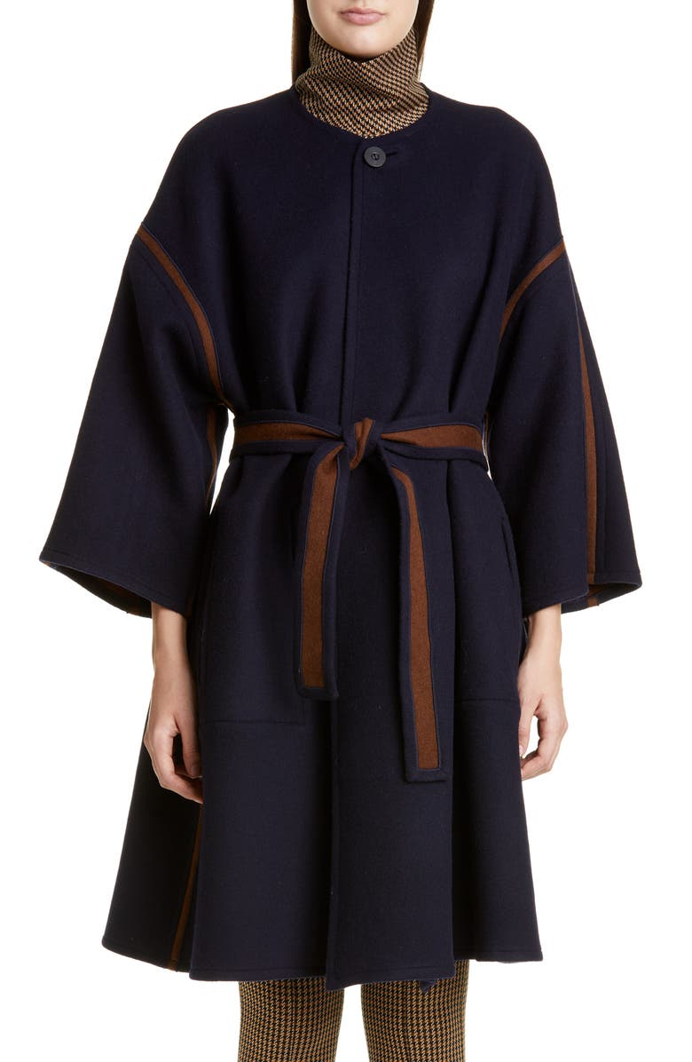 ROSETTA GETTY Reversible Belted Wool Coat, Main, color, MAHOGANY/ INDIGO