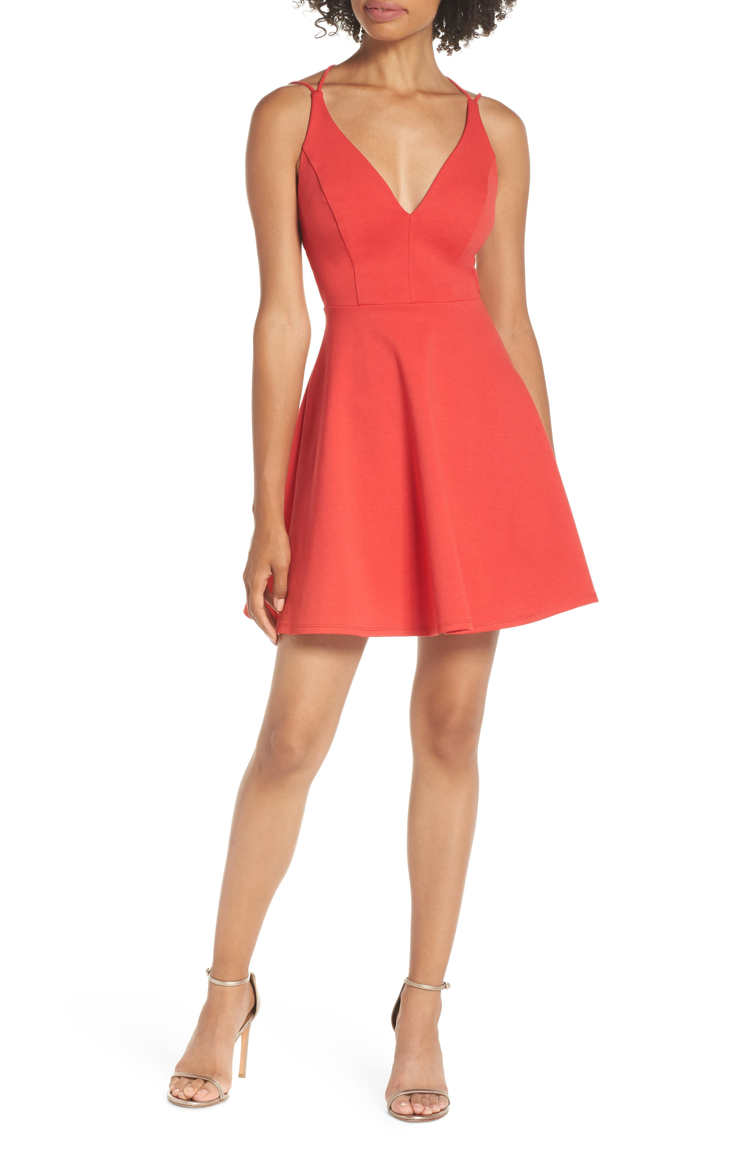 Lulus Believe In Love Strappy Back Skater Dress, Red