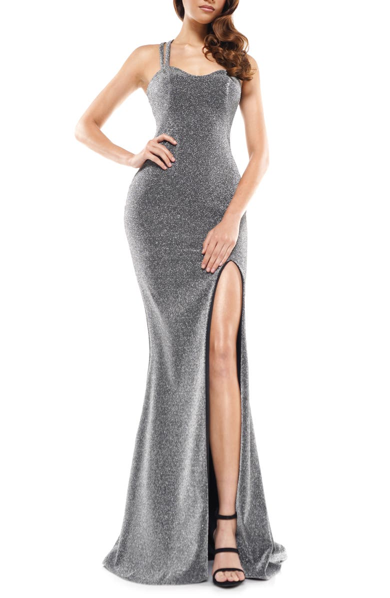 COLORS DRESS Glitter Sweetheart Neck Side Slit Gown, Main, color, CHARCOAL