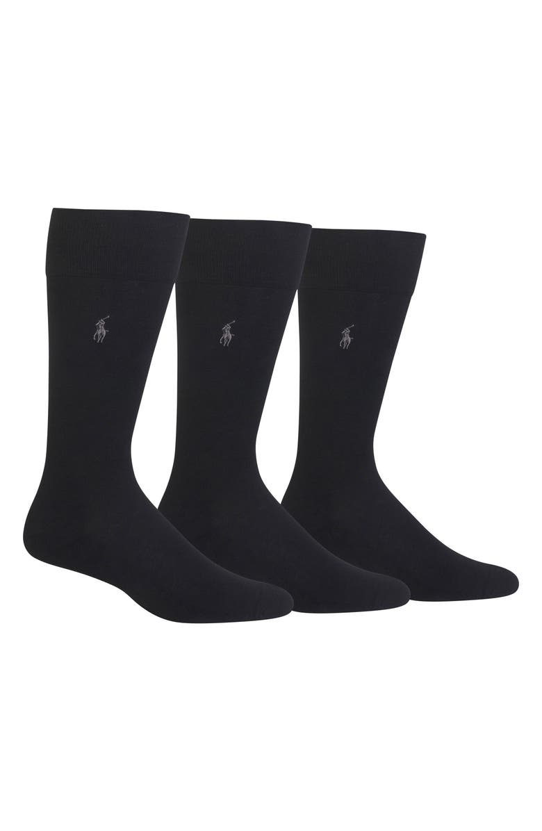 POLO RALPH LAUREN Assorted 3-Pack Supersoft Socks, Main, color, BLACK