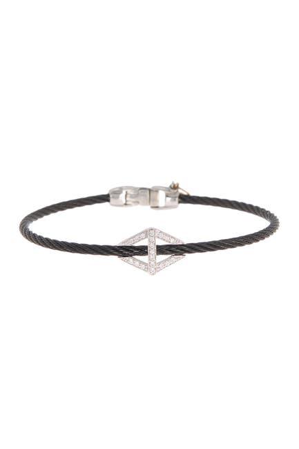 Image of ALOR 18K White Gold Black Stainless Steel Cable Diamond Bracelet - 0.17 ctw