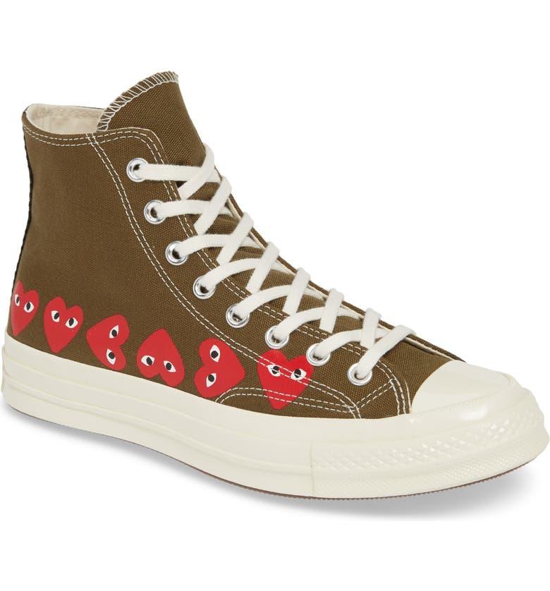 COMME DES GARÇONS PLAY Multiheart Sneaker, Main, color, KHAKI