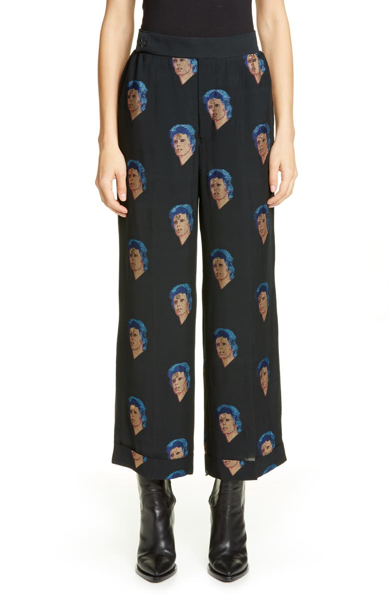 Bowie Face Wide Leg Pants by Undercover