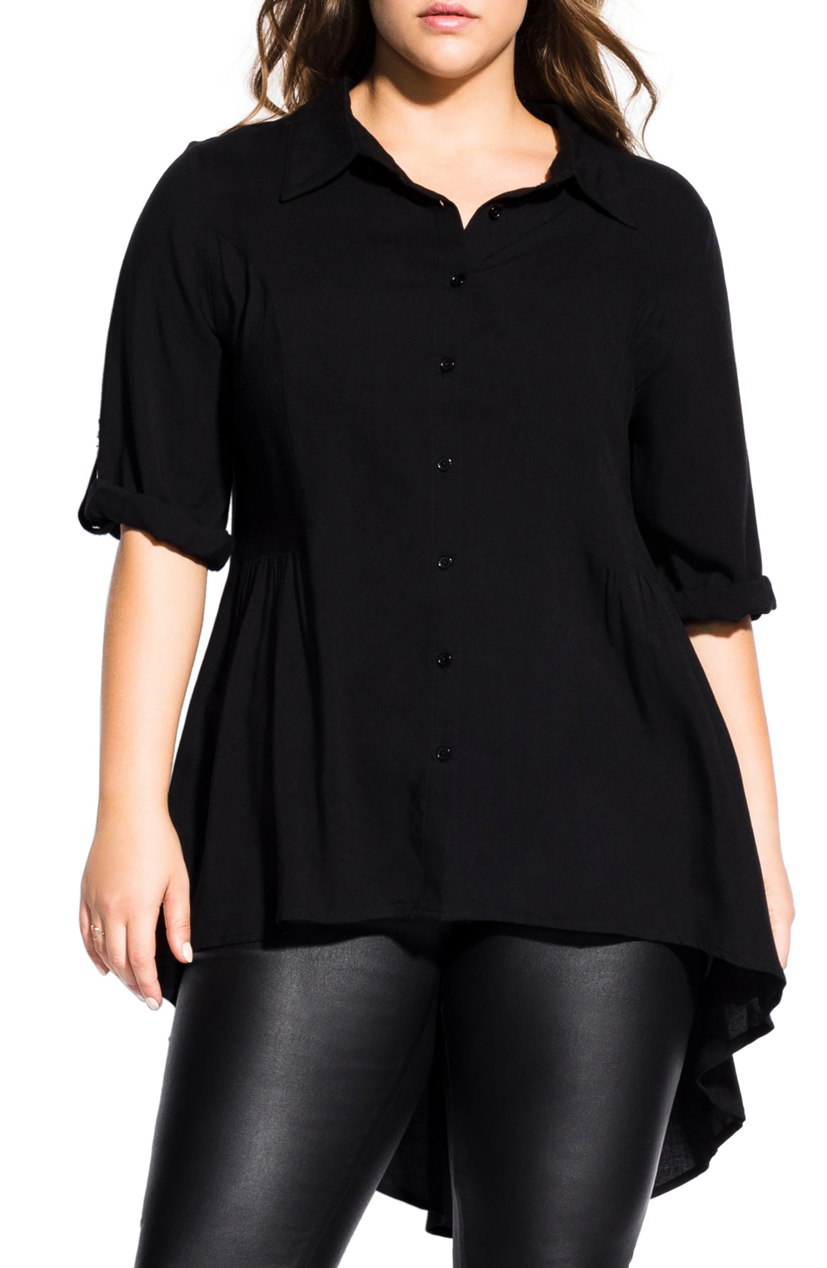 Fierce High/Low Shirt, Main, color, BLACK