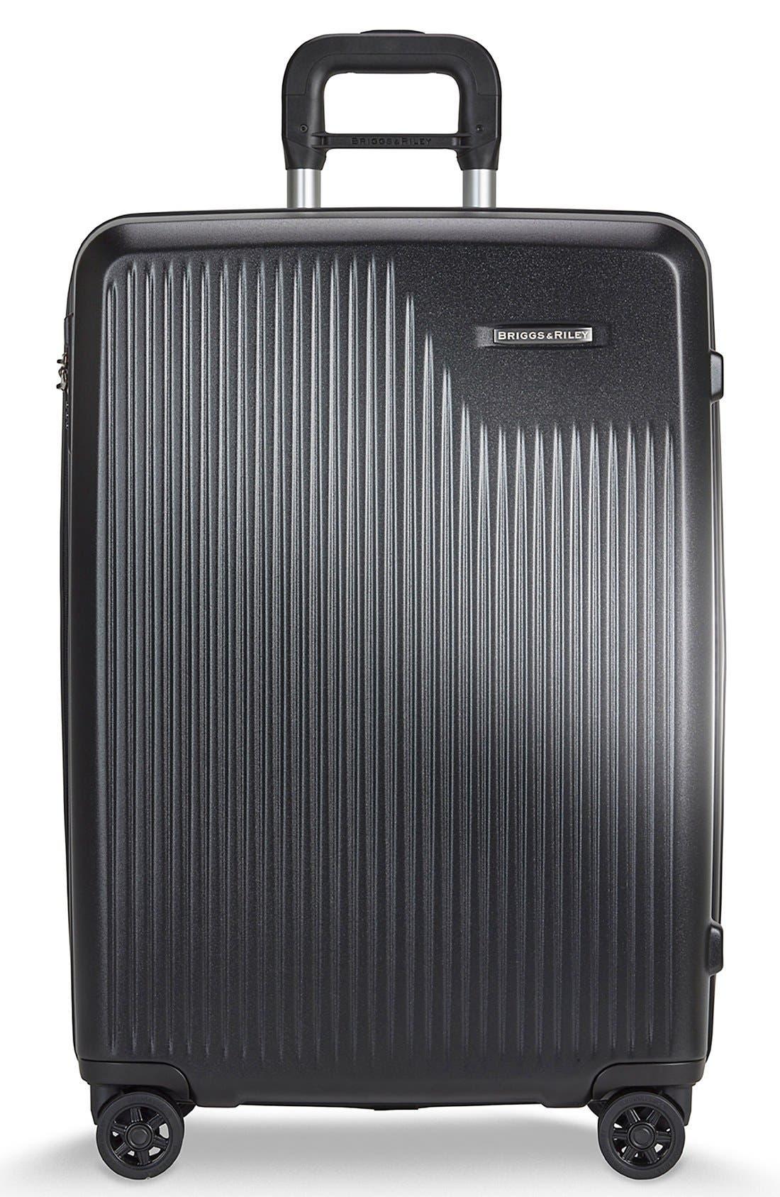 'Sympatico' Expandable Wheeled Packing Case, Main, color, BLACK