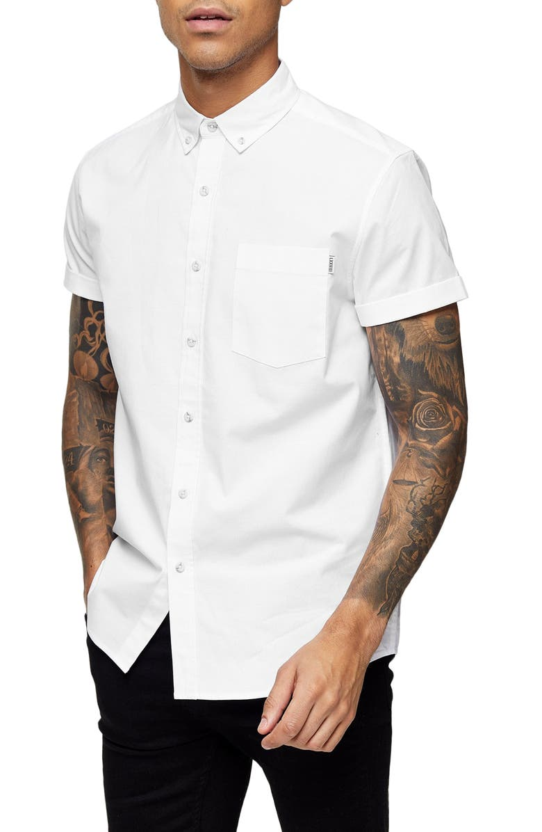 TOPMAN Muscle Fit Short Sleeve Button-Down Oxford Shirt, Main, color, WHITE