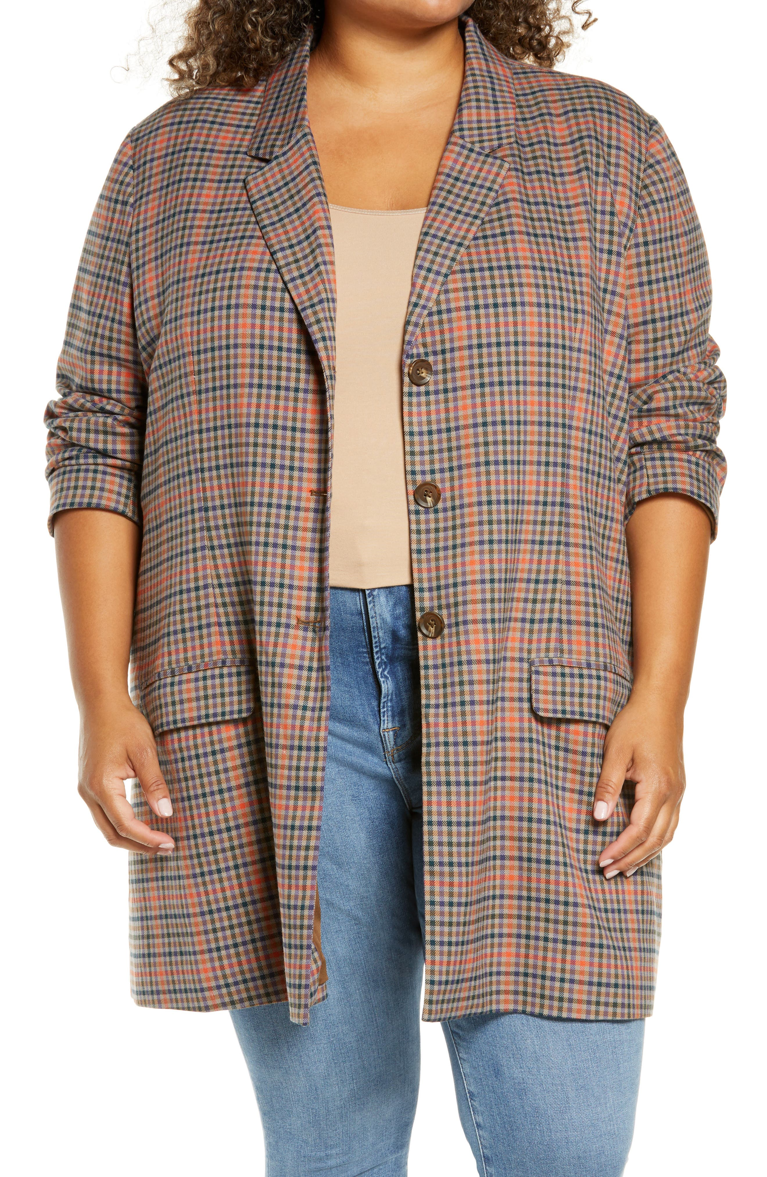 BB Dakota Plaid Boyfriend Blazer (Plus Size) | Nordstrom