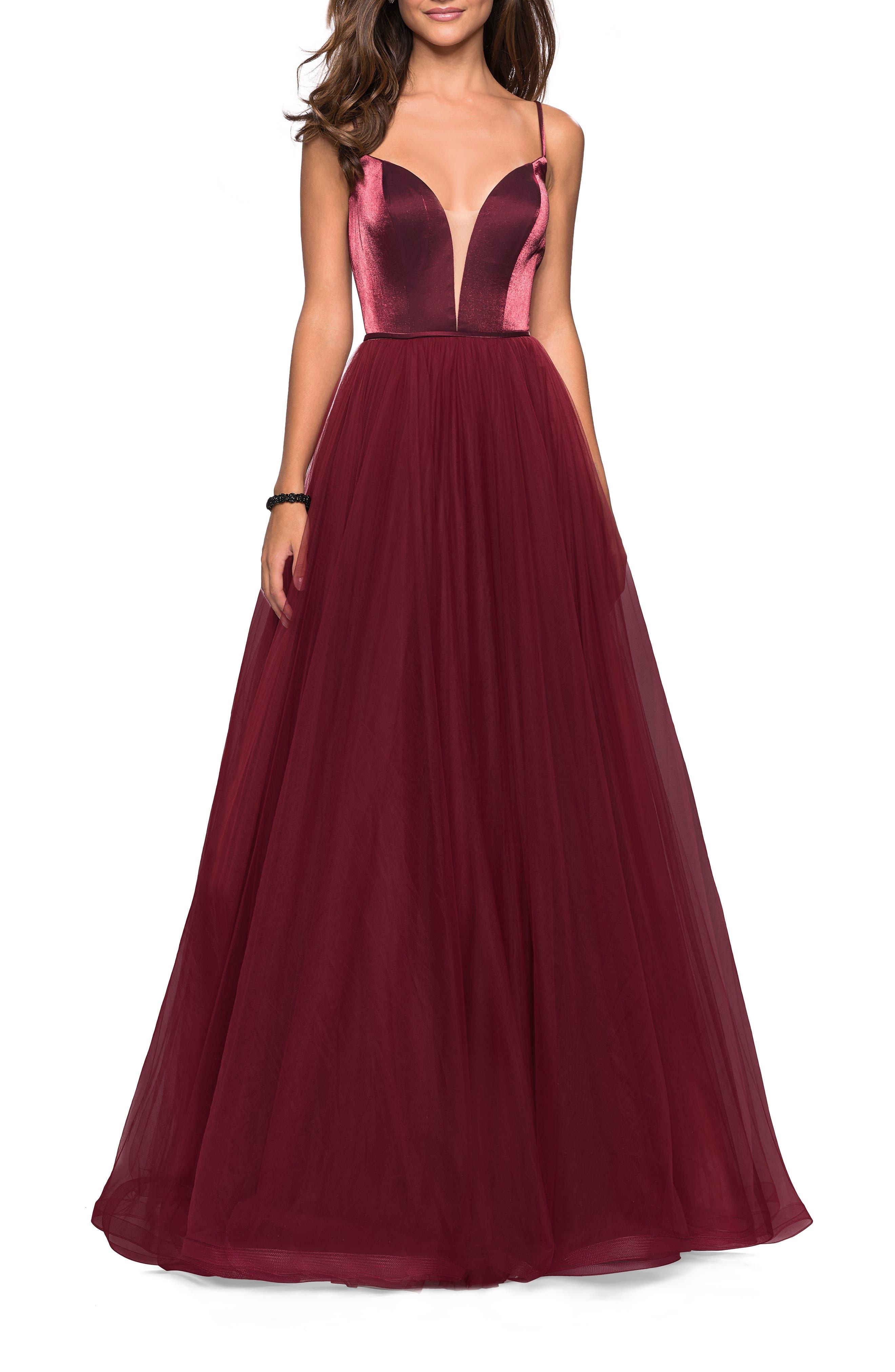 ,                             Velvet & Tulle Evening Dress,                             Main thumbnail 1, color,                             BURGUNDY