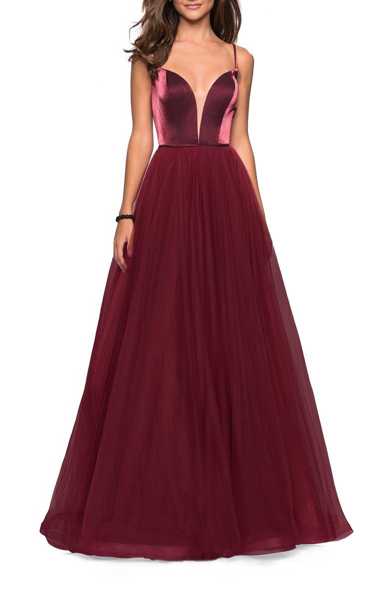 LA FEMME Velvet & Tulle Evening Dress, Main, color, BURGUNDY