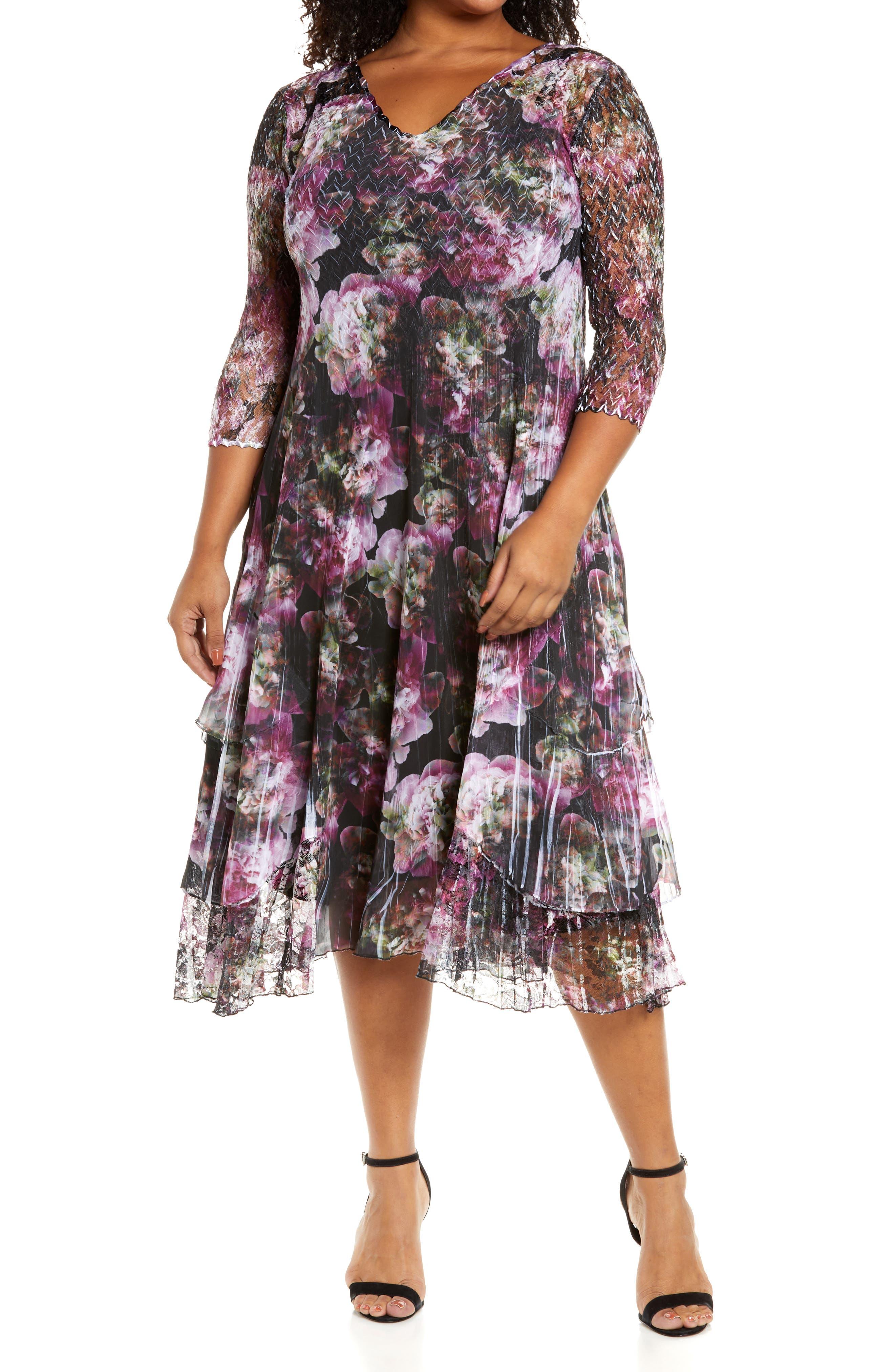 Lace Sleeve Charmeuse Midi Dress