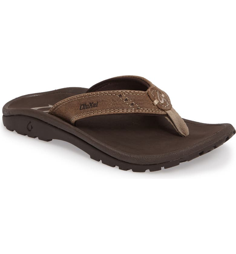 OLUKAI Nui Leather Flip Flop, Main, color, CLAY/ DARK JAVA