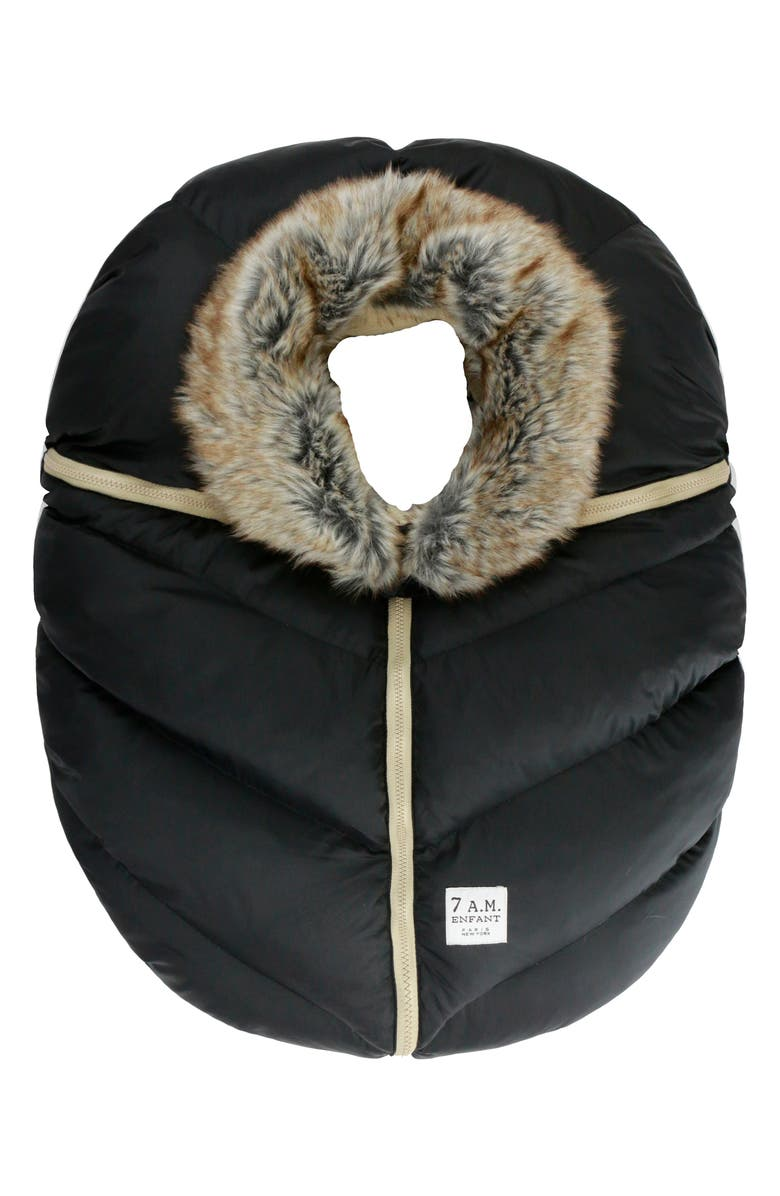 7 A.M. ENFANT Water Repellent Faux Fur Trim Car Seat Cocoon, Main, color, BLACK FAUX FUR